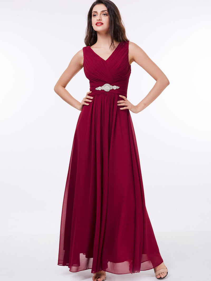 Size US14 Beading V-Neck A-Line Red Evening Party Dress