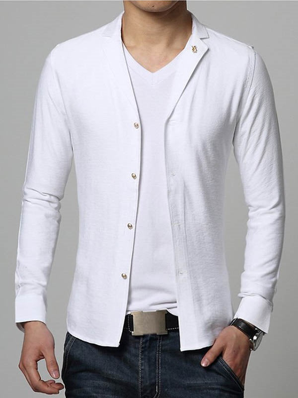 Size XL Casual Plain Button Single-Breasted Slim Shirt