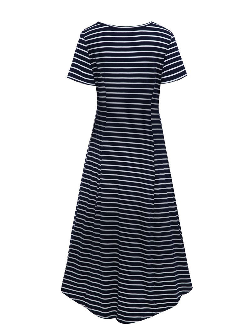 Size L Short Sleeve Mid-Calf Round Neck A-Line Pullover Dress