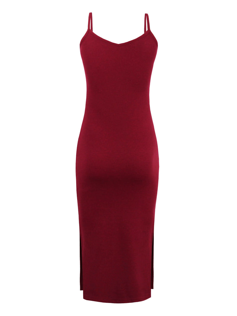 Size M V-Neck Backless Sleeveless Plain Spaghetti Strap Dress
