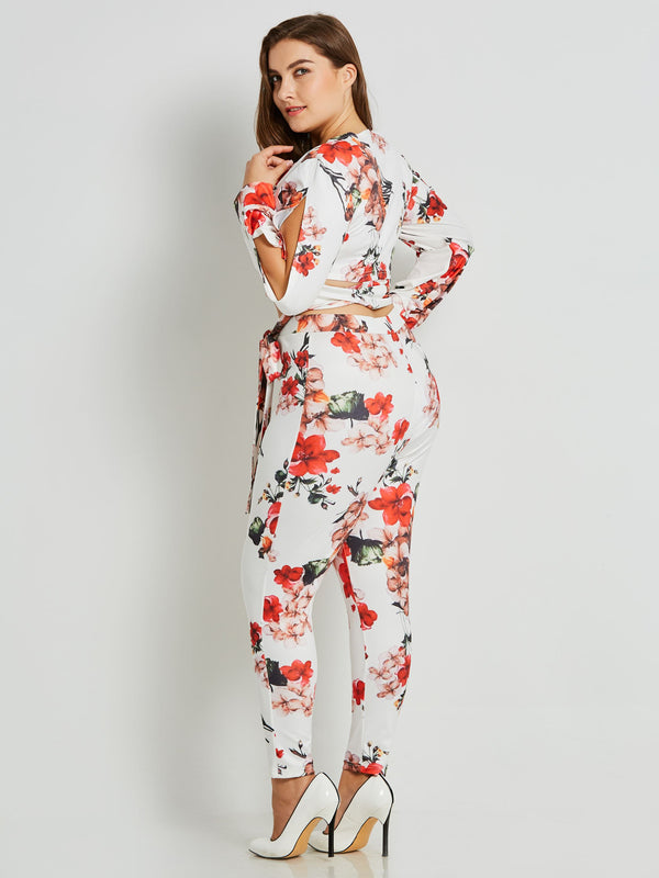 Size L T-Shirt Print Floral Pencil Pants V-Neck Two Piece Sets
