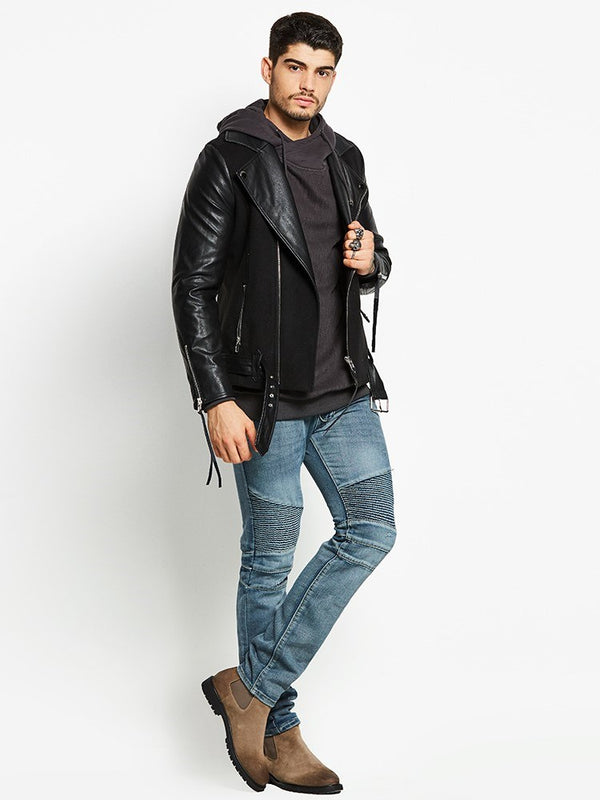 Lapel Standard Plain Slim Zipper Leather Jacket