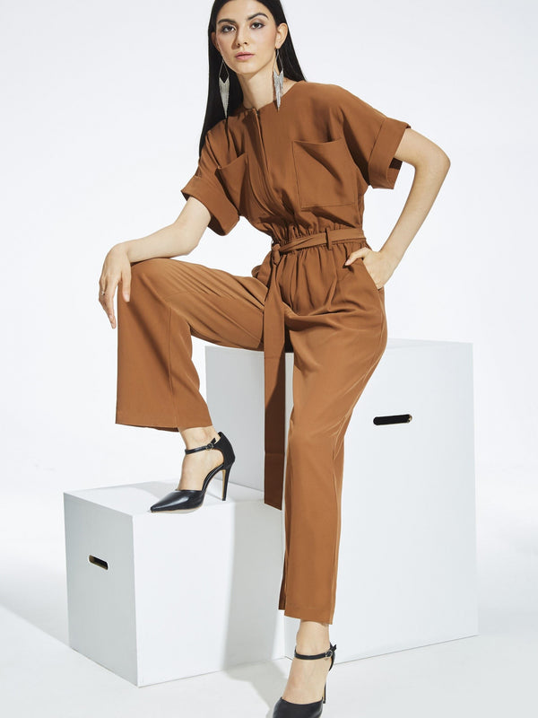 Size XL Plain Pocket Full Length High Waist Slim Jumpsuit