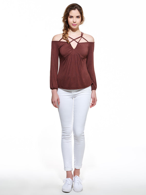 Size M Off Shoulder Standard Plain Fall Slim T-Shirt