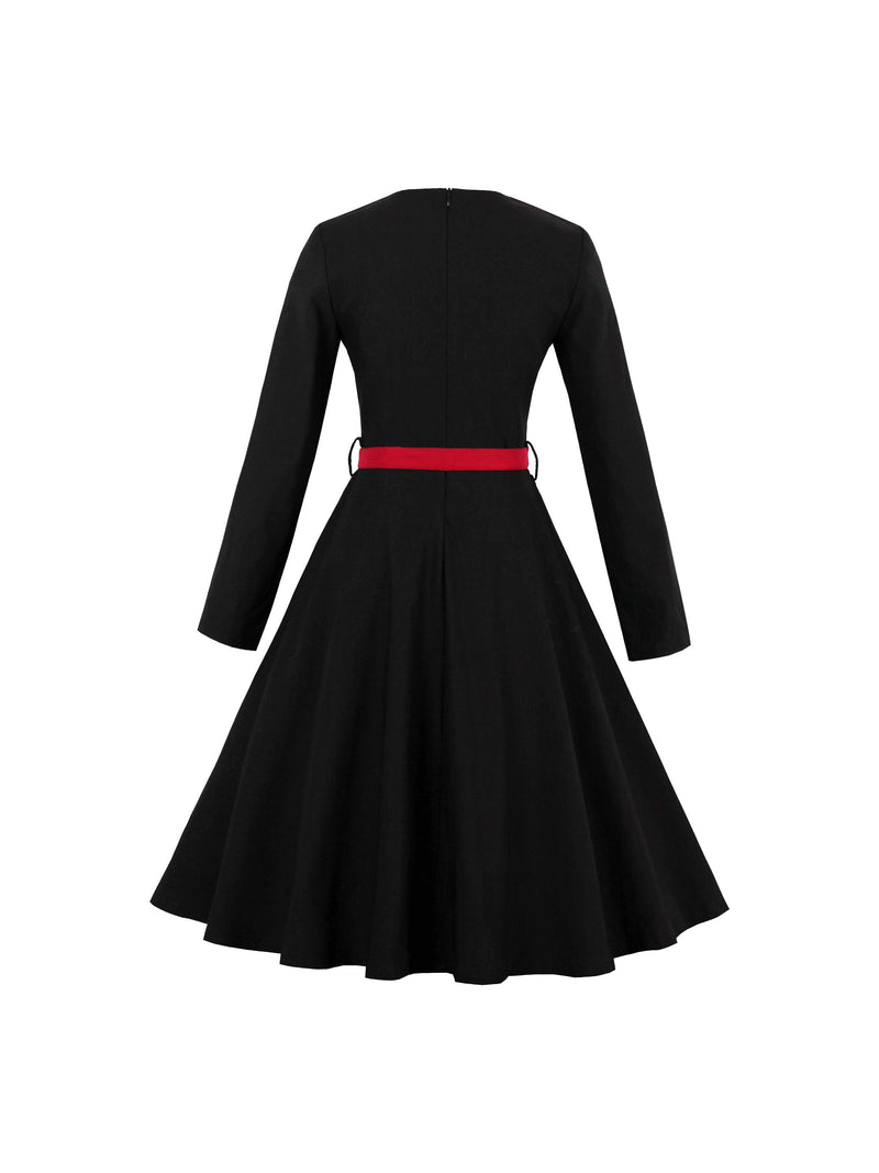 Plus Size 2XL Long Sleeve Knee-Length Standard-Waist Pullover Dress