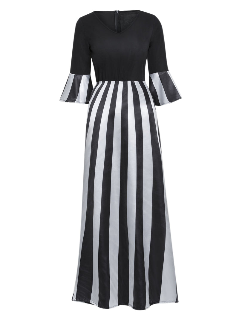 Size M L Patchwork Ankle-Length V-Neck Stripe Zipper Dress