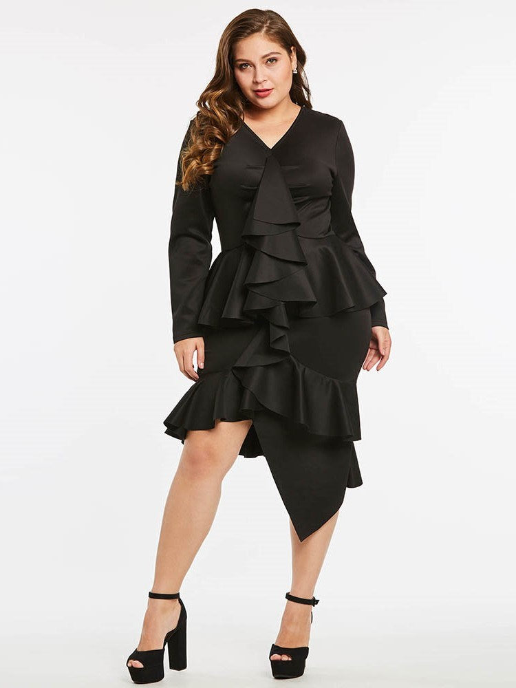 Plus Size XL Mid-Calf V-Neck Long Sleeve Zipper Plain Dress