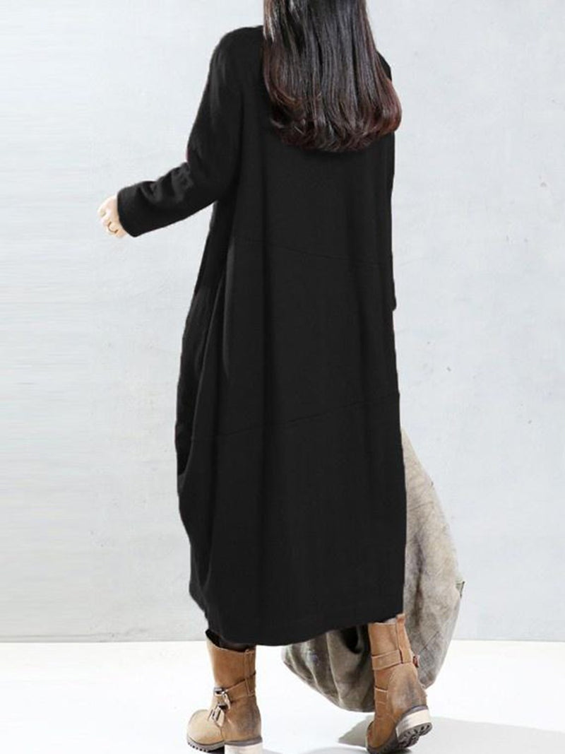 Plus Size 2XL Pocket Mid-Calf Long Sleeve Pullover Lantern Dress