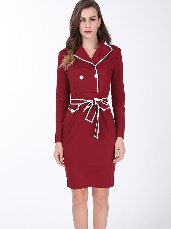 Plus Size Mid-Calf Lapel Long Sleeve Zipper Sheath Dress