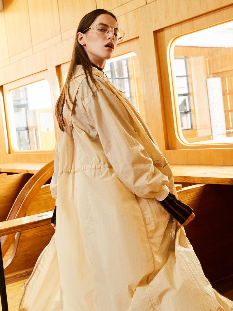Size L Zipper Long Pocket Loose Long Sleeve Trench Coat