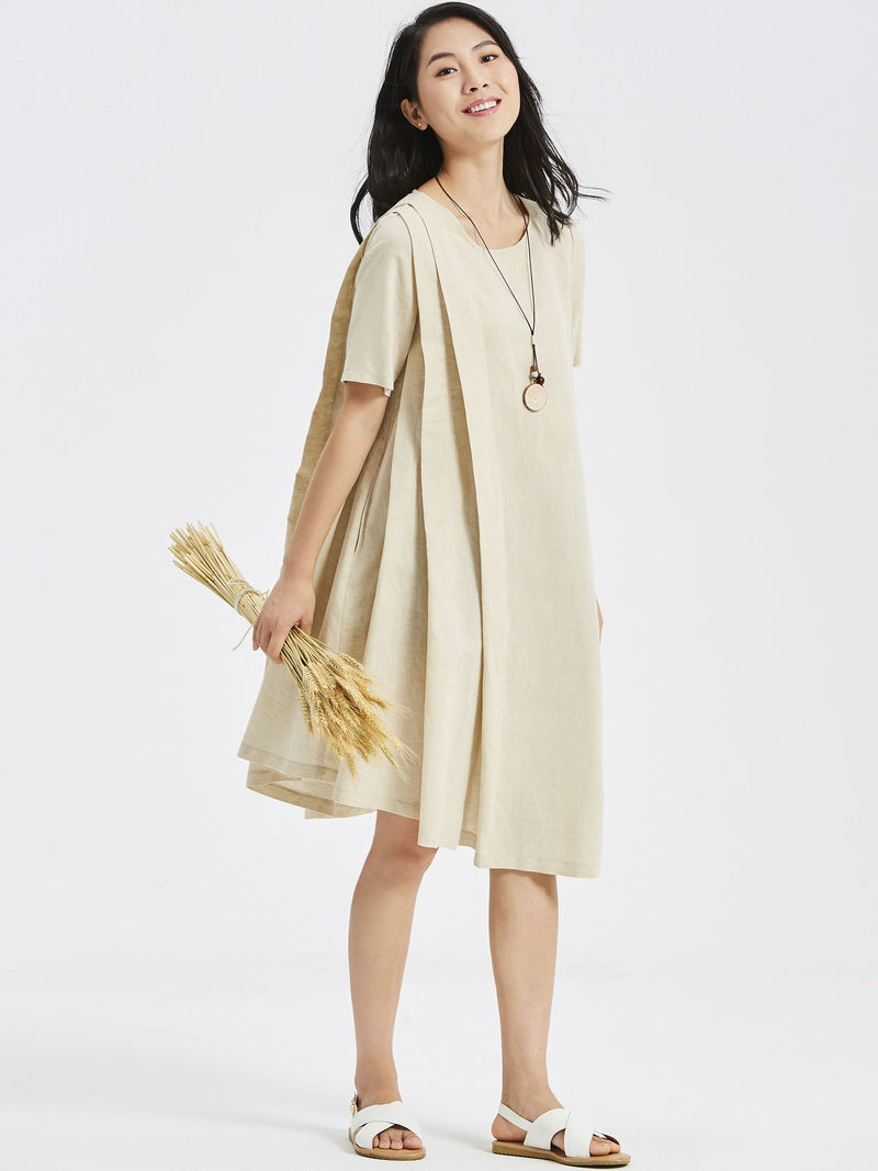 Pleated Round Neck Short Sleeve Pullover Plain Dress