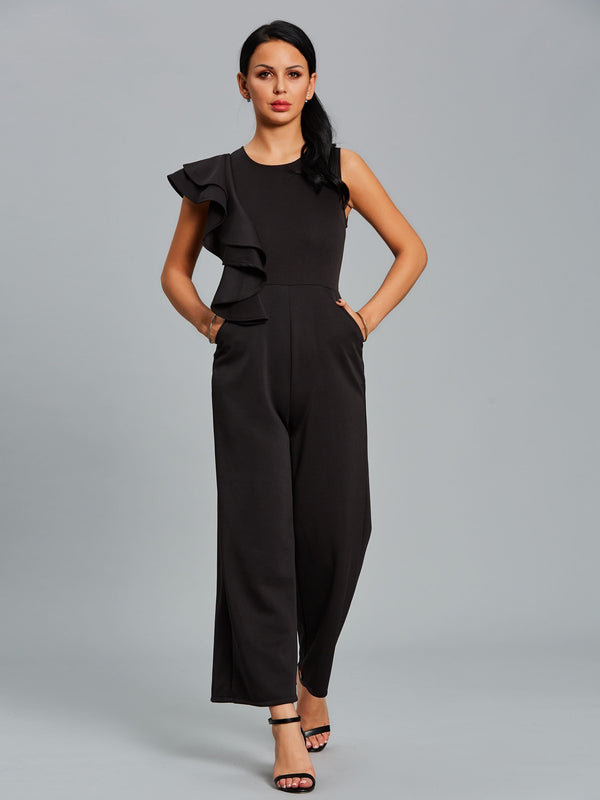 Size M L Plain Full Length Asymmetric Slim Wide Legs Jumpsuit