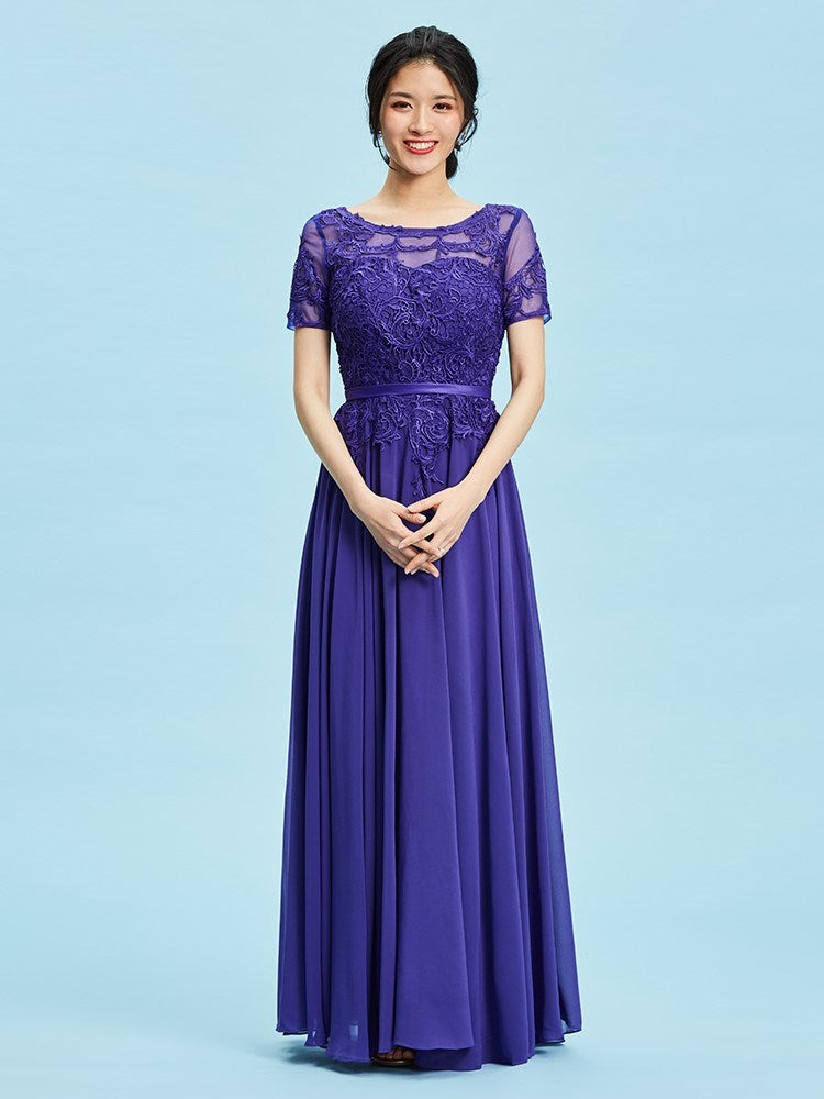 Size US2 US10 Purple Appliques Scoop Ankle-Length Prom Petite Party Dress