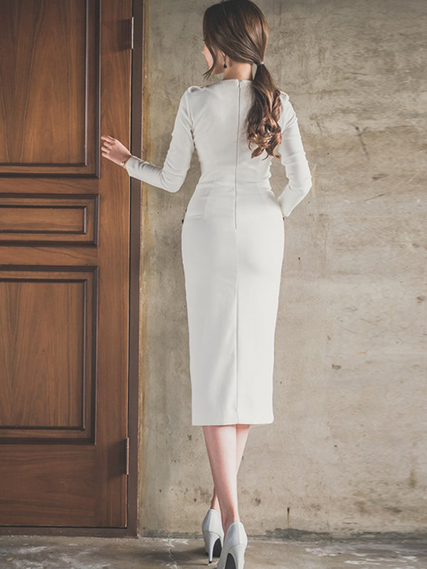 Long Sleeve Lapel Mid-Calf Regular Bodycon Dress
