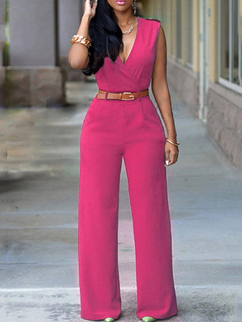 Size XL Plain Button Full Length High Waist Slim Jumpsuit