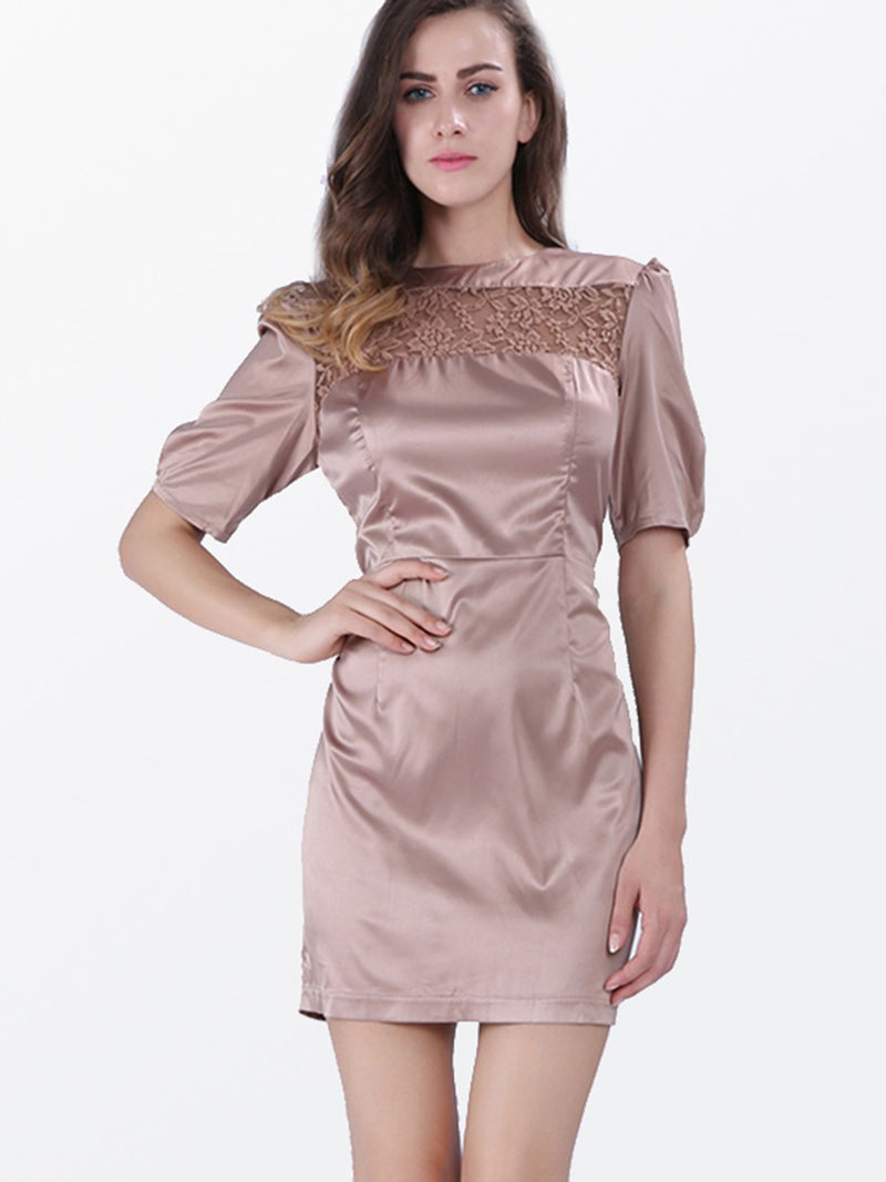 Lace Knee-Length Short Sleeve Summer Pullover Dress