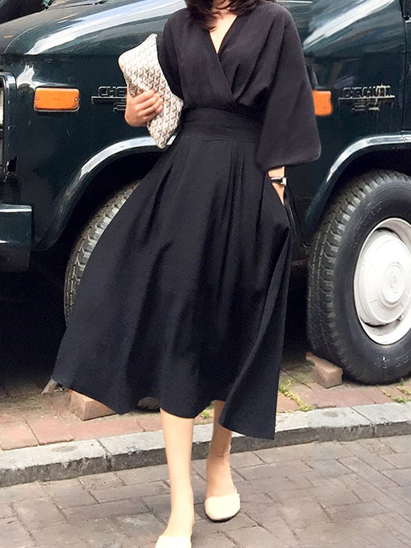 Long Sleeve Mid-Calf Expansion Fall Dress