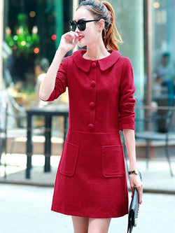Plus Size 3XL Button Peter Pan Collar Long Sleeve Plain Regular Dress
