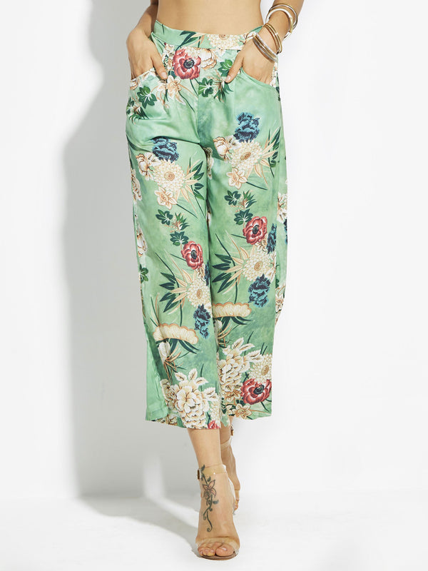 Size S Pocket Loose Floral Full Length Wide Legs Petite Casual Pants
