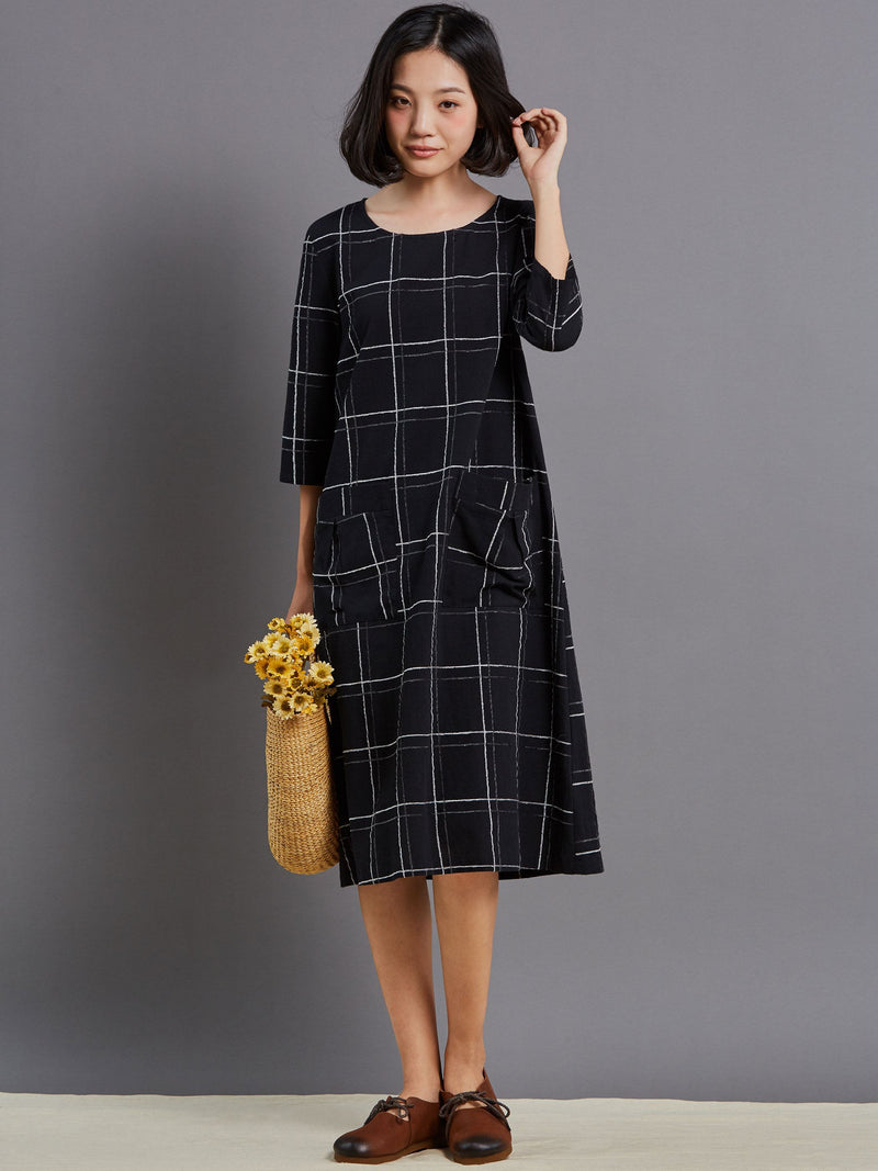 Size S Round Neck Mid-Calf Button Plaid Pullover Petite Dress