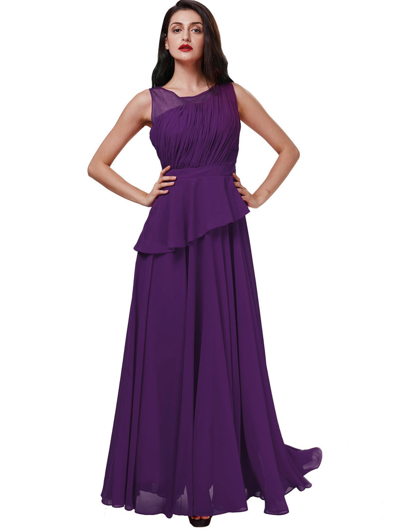 Draped Scoop Sleeveless A-Line Evening Party Dress