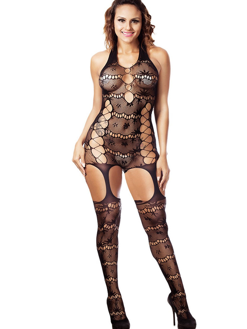 Lace Crotchless Plant Tight Wrap Spandex Teddies & Bodysuits