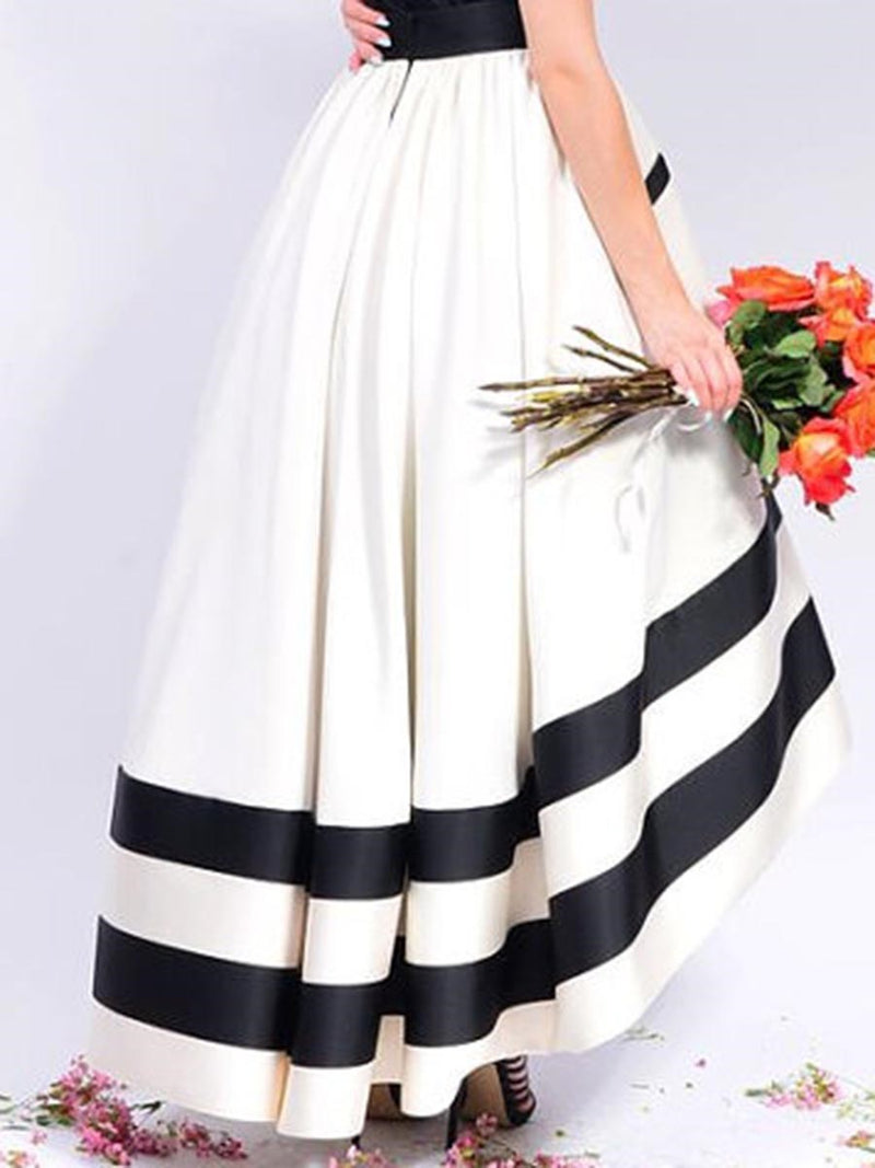 Size S Asymmetric Color Block Ankle-Length High Waist Petite Skirt