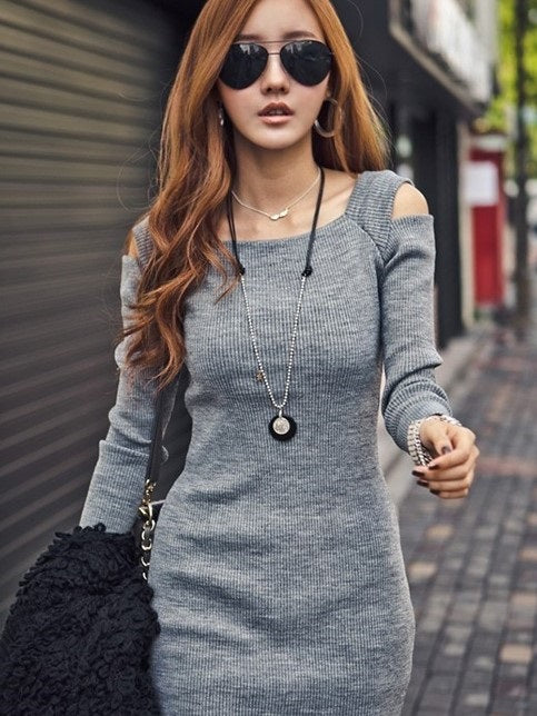 Size L XL Long Sleeve Above Knee Round Neck Bodycon Pullover Dress