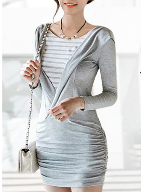 Size L XL Round Neck Long Sleeve Pleated Regular Fall Dress