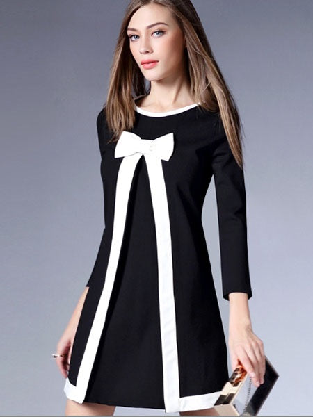 Size S Round Neck Above Knee Nine Points Sleeve Regular Color Block Petite Dress