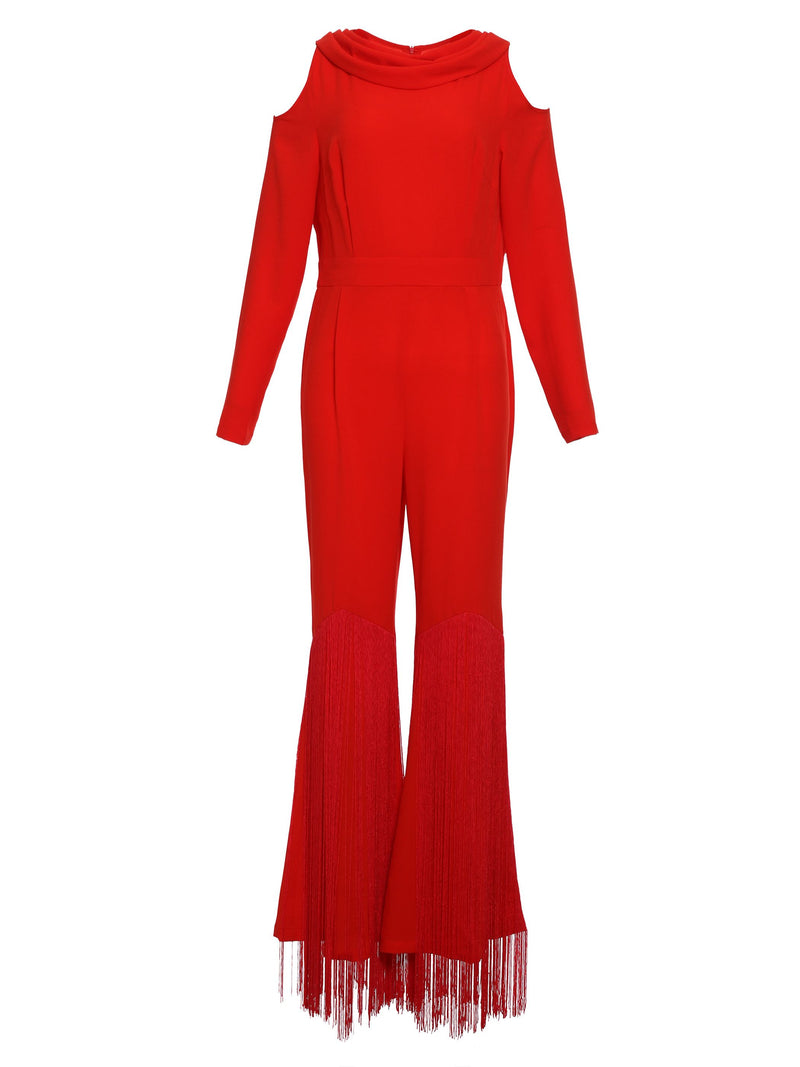 Size XL Full Length Plain Hollow Wide Legs Slim Jumpsuit