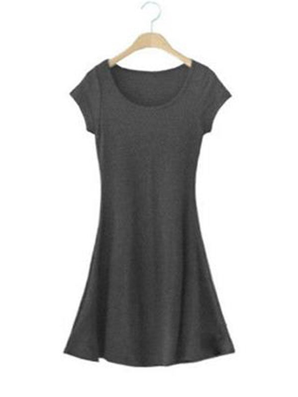 One Size Black Gray Scoop Short Sleeve Above Knee Plain Pullover Dress