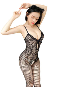 Patchwork Plain Spaghetti Strap Nylon Tight Wrap Teddies & Bodysuits