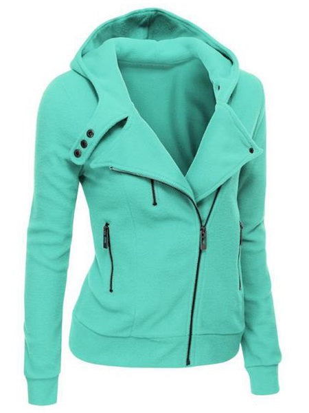 Plain Zipper Zipper Fall V-Neck Hoodie