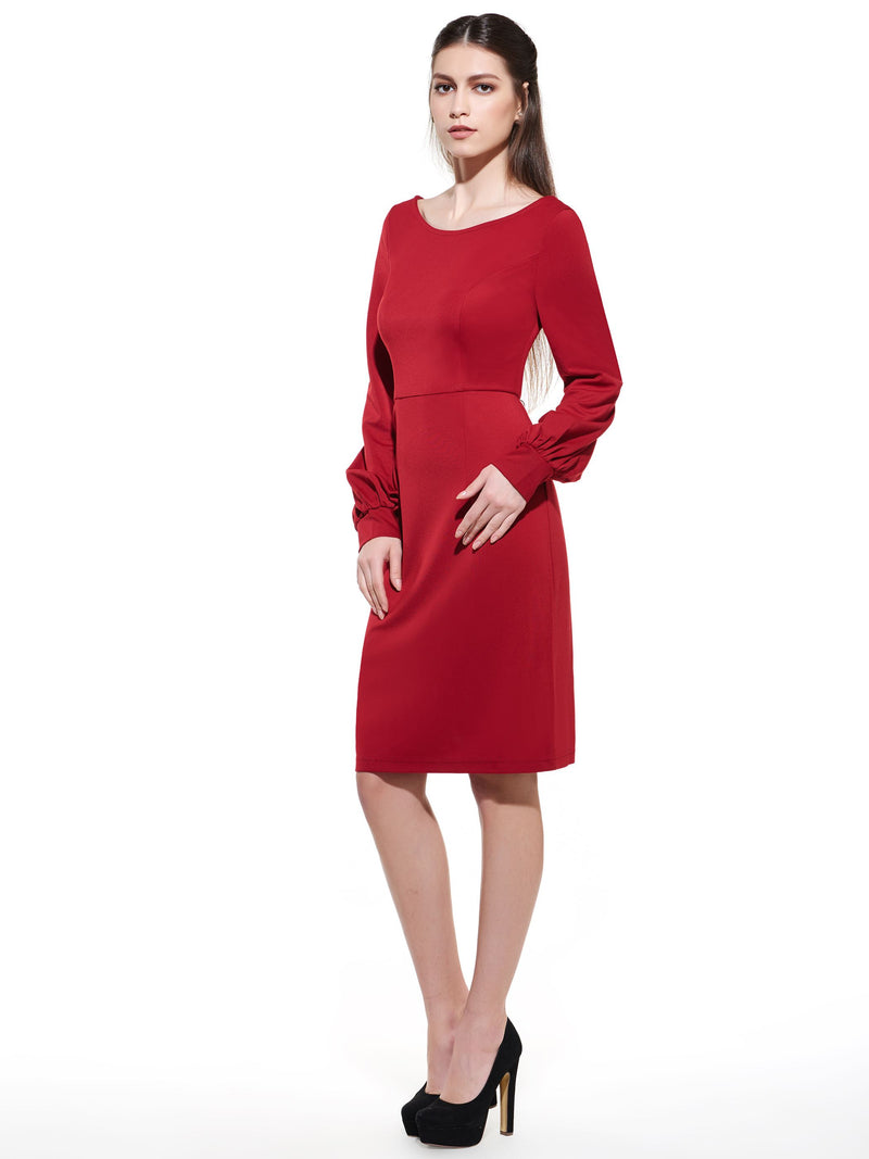 Size S Mid-Calf Round Neck Long Sleeve Regular Standard-Waist Petite Dress