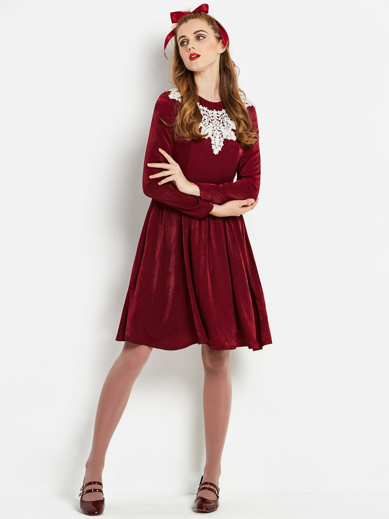Size S Knee-Length Long Sleeve A-Line Sweet Petite Dress
