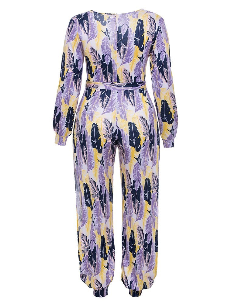 Size XL Color Block Full Length Print Knickerbockers Slim Jumpsuit