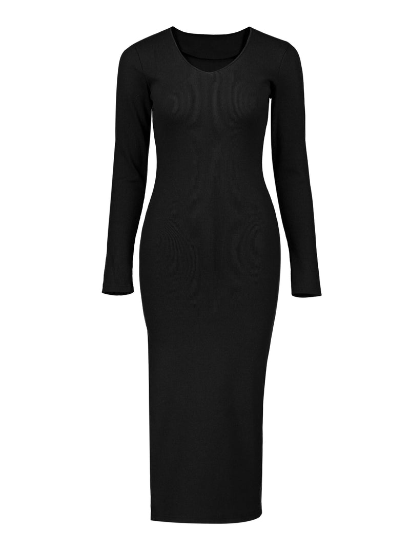 Size M Mid-Calf Long Sleeve Round Neck Plain Pullover Dress