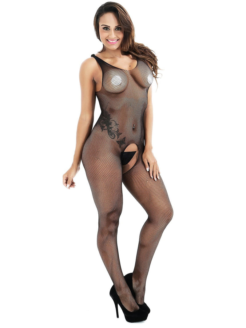 See-Through Crotchless Plain Tight Wrap Spandex Teddies & Bodysuits