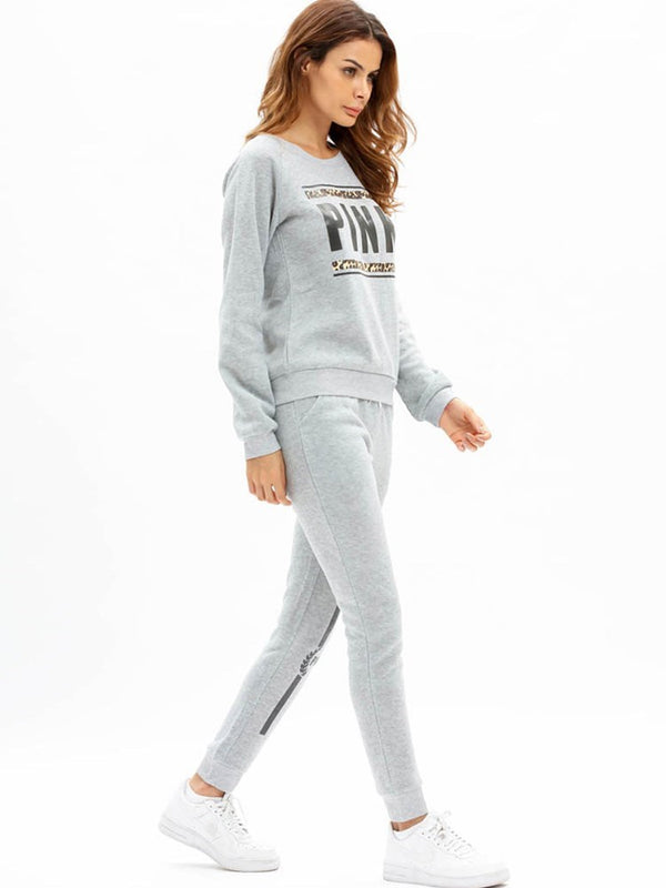 Size S Letter Pocket Hoodie Pullover Round Neck Two Piece Sets