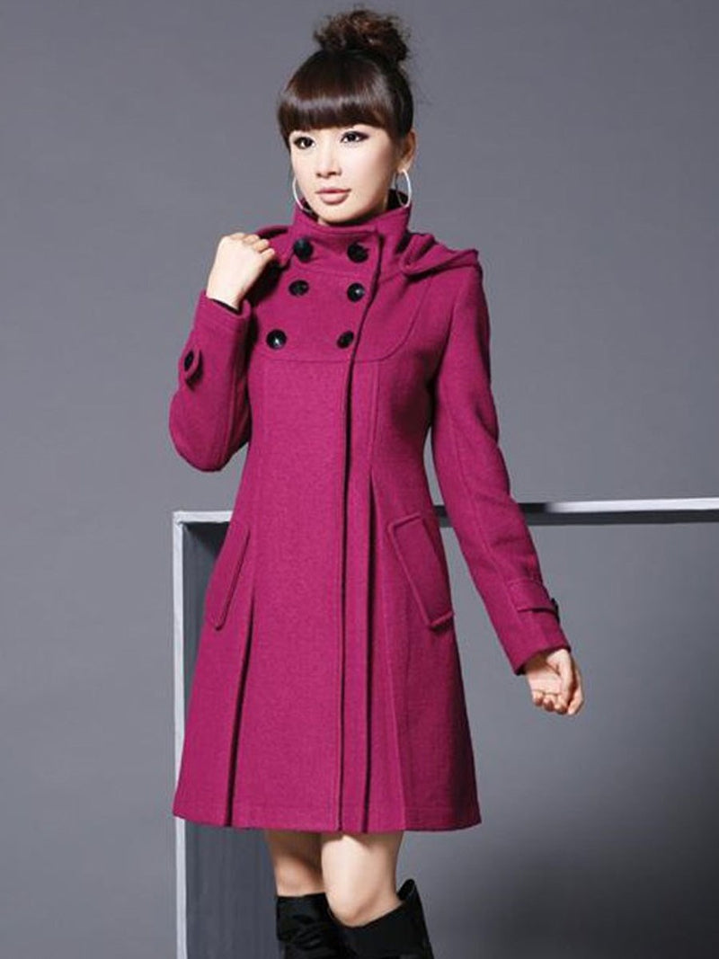 Size M Double-Breasted Slim Mid-Length Hooded Overcoat