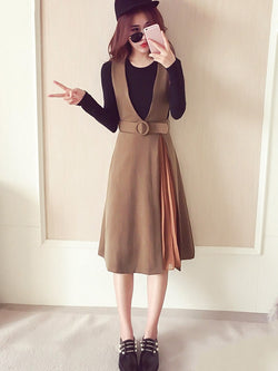 Plain Dress Patchwork Round Neck Pullover Two Piece Sets