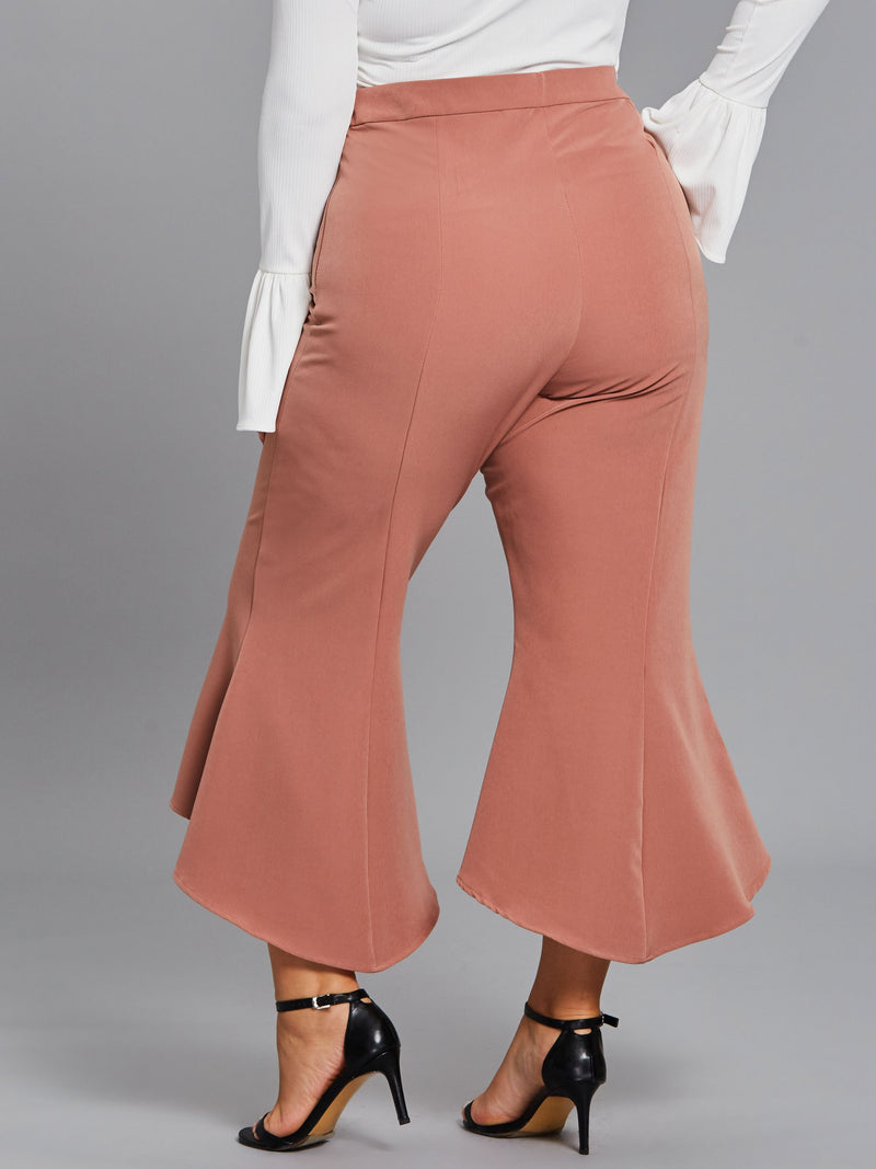 Size L Plain Slim High Waist Bellbottoms Casual Pants