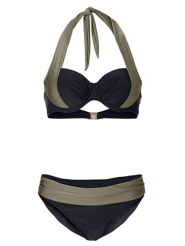 Size S Bikini Set Color Block Pleated Petite Swimwear