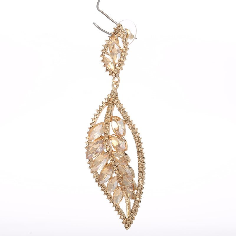 Alloy Diamante Leaf Anniversary Earrings