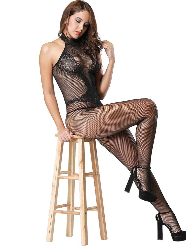 Plain Halter See-Through Sleeveless Spandex Tight Wrap Teddies & Bodysuits