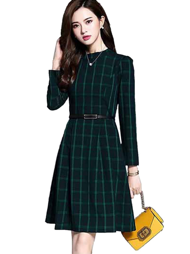 Round Neck Long Sleeve Patchwork Fall Regular Dress