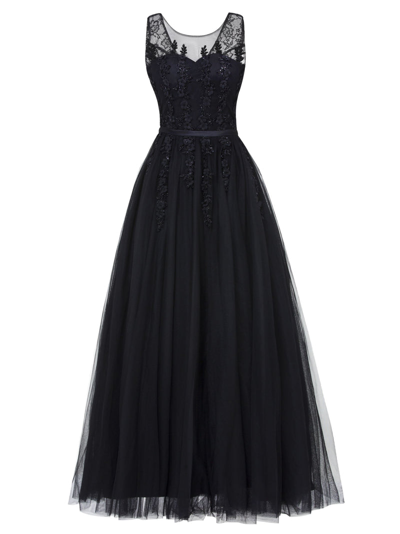 A-Line Sequins Floor-Length Scoop Prom Party Dress