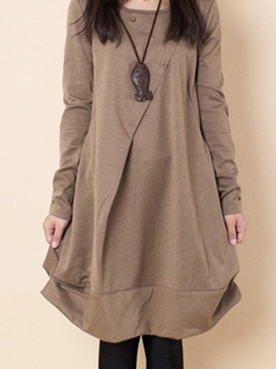 Size L 2XL Long Sleeve Knee-Length Spring A-Line Dress