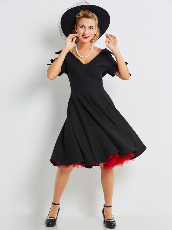Size M Knee-Length Short Sleeve Regular A-Line Dress
